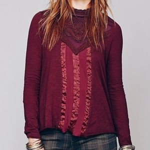 Free People Plum Victorian Mock Neck Blouse